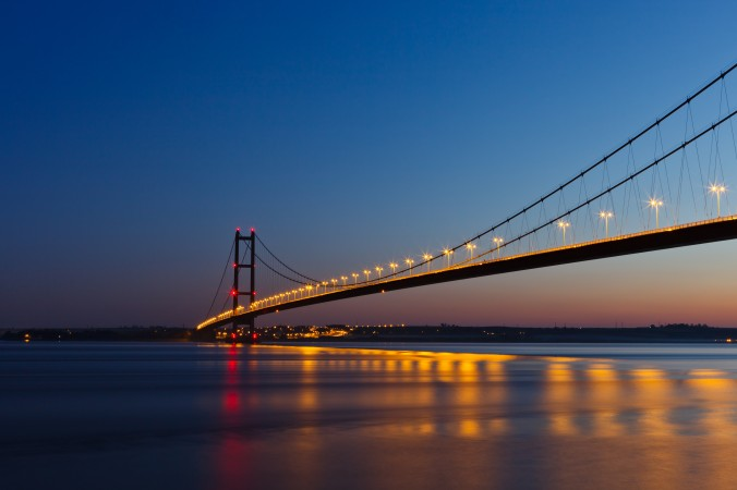 view of humber bridge at sunset